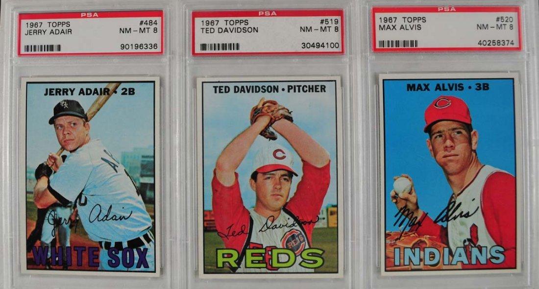 17 1967 Topps Baseball Cards PSA Graded 8 - 3
