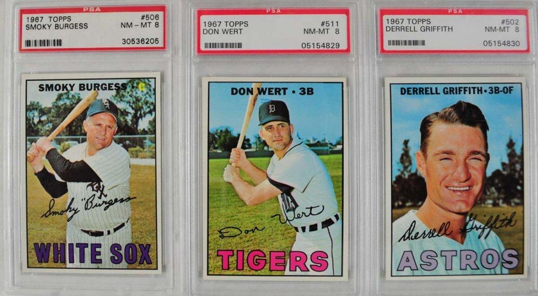 17 1967 Topps Baseball Cards PSA Graded 8 - 8