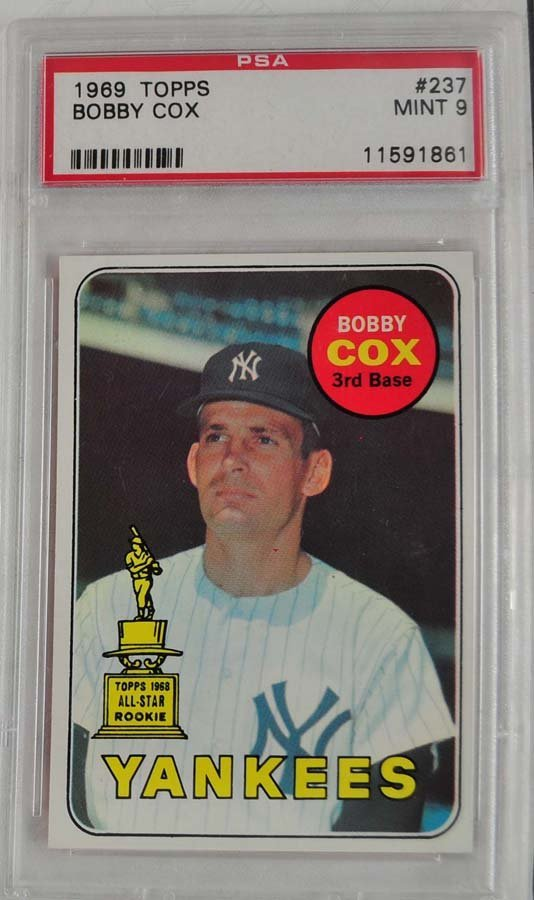1969 Topps Bobby Cox Rookie Card PSA Graded Mint 9