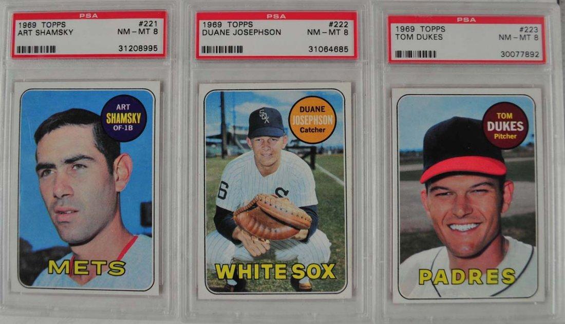 20 1969 Topps Baseball Cards PSA Graded 8