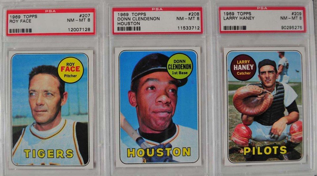 20 1969 Topps Baseball Cards PSA Graded 8 - 3