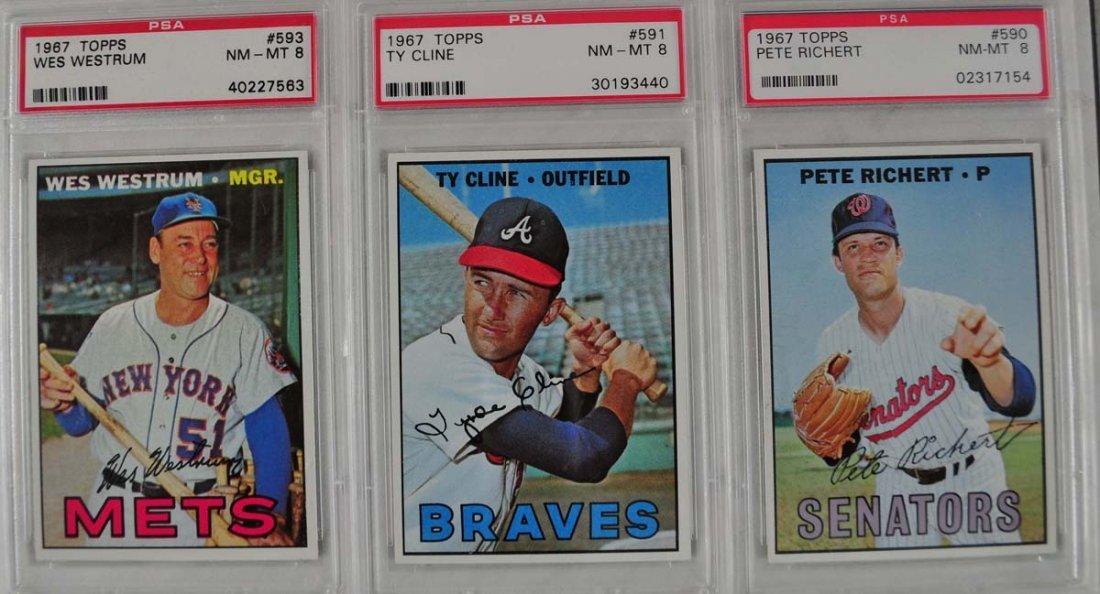 14 1967 Topps Baseball Cards PSA Graded 8 - 7