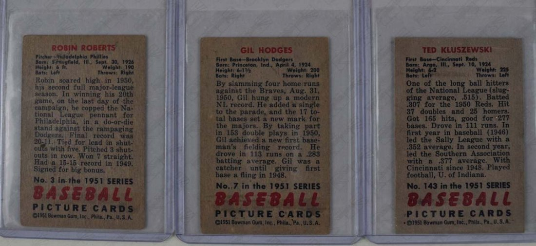 Three 1951 Bowman Mid Grade HOF Players - 2