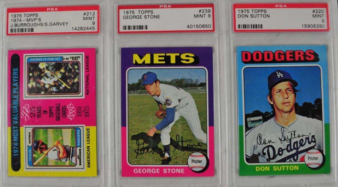 16 1975 Topps Baseball Cards PSA Graded 9
