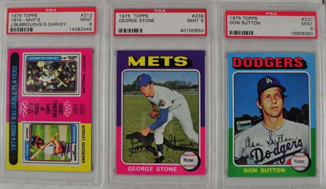 16 1975 Topps Baseball Cards PSA Graded 9 - 3