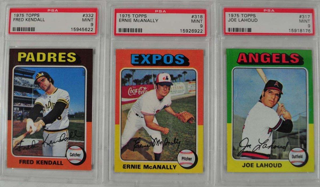 16 1975 Topps Baseball Cards PSA Graded 9 - 7
