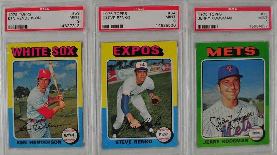 15 1975 Topps baseball Cards PSA Graded Mint 9 - 5