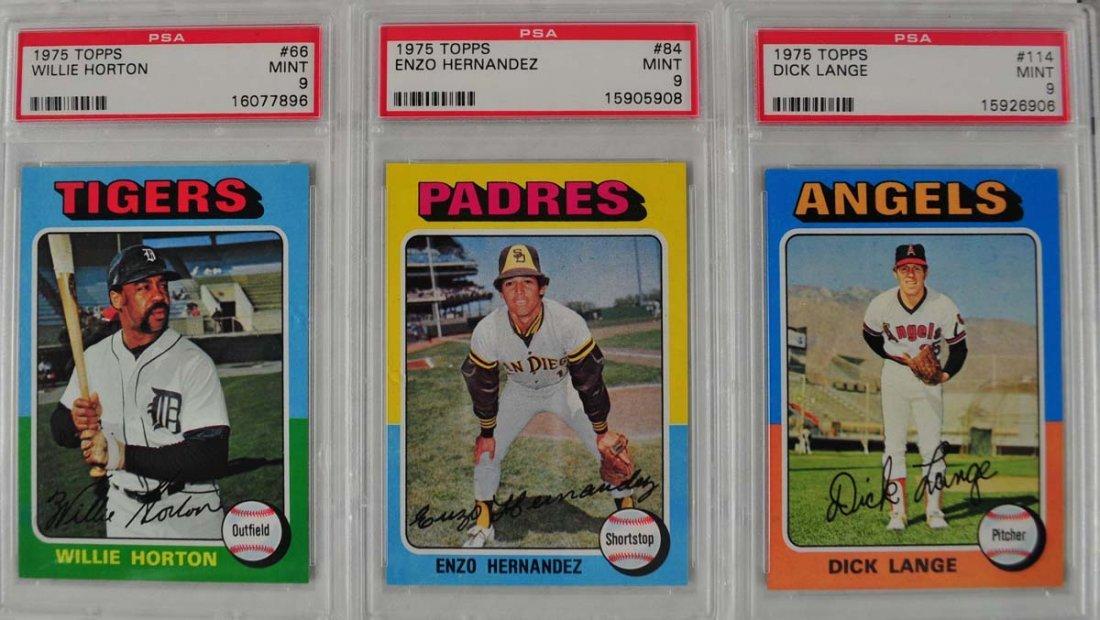 15 1975 Topps baseball Cards PSA Graded Mint 9 - 7