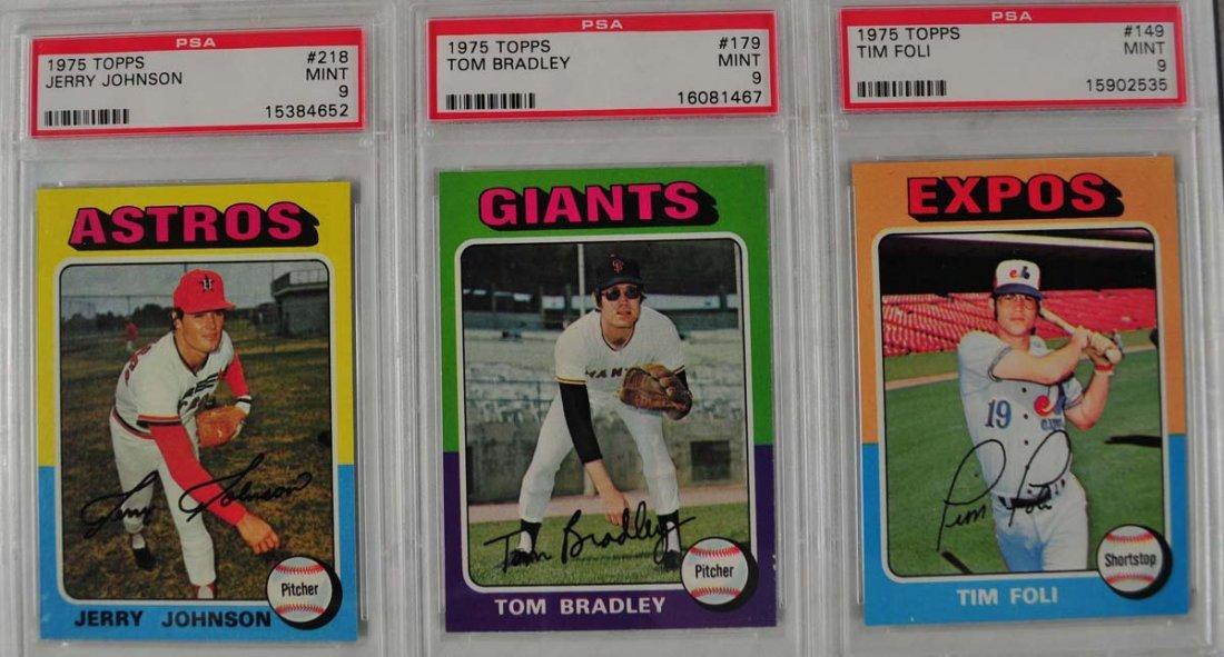 15 1975 Topps baseball Cards PSA Graded Mint 9 - 9