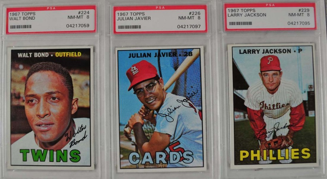 20 1967 Topps Baseball Cards PSA Graded 8 - 5