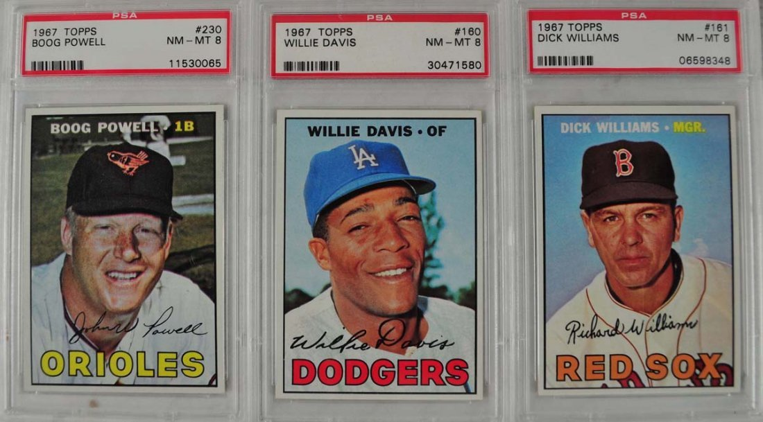 20 1967 Topps Baseball Cards PSA Graded 8 - 7