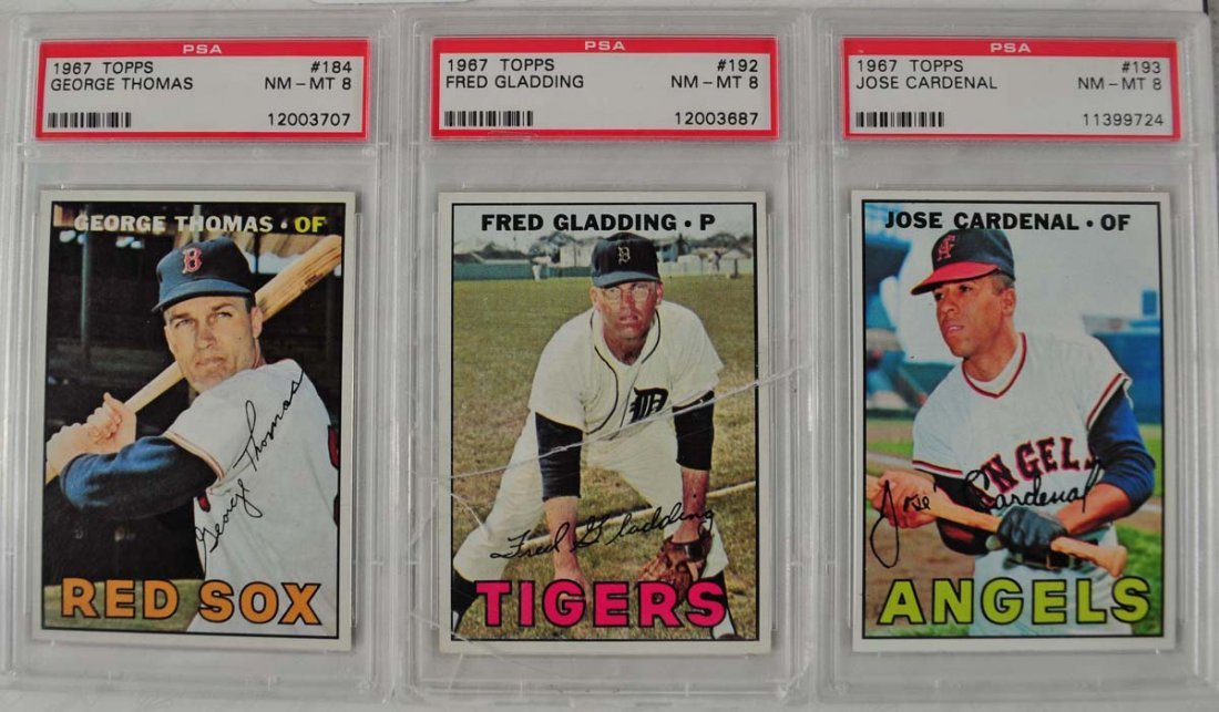 20 1967 Topps Baseball Cards PSA Graded 8 - 9