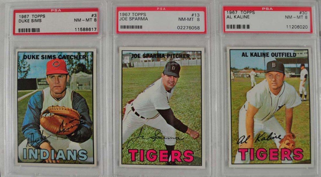 7 1967 Topps Baseball Cards PSA Graded 8