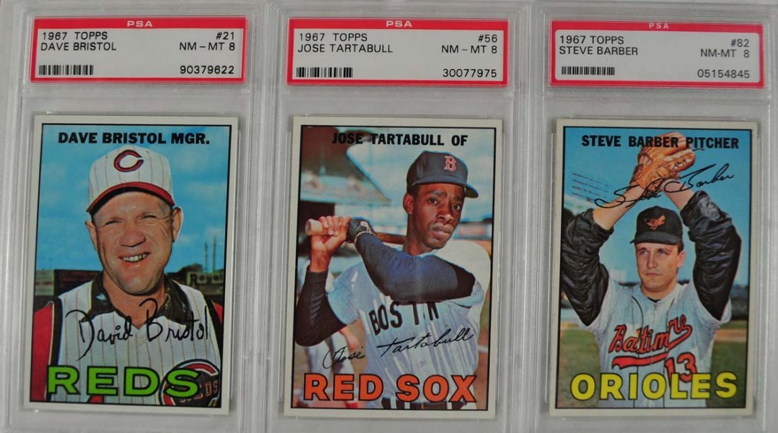 7 1967 Topps Baseball Cards PSA Graded 8 - 3