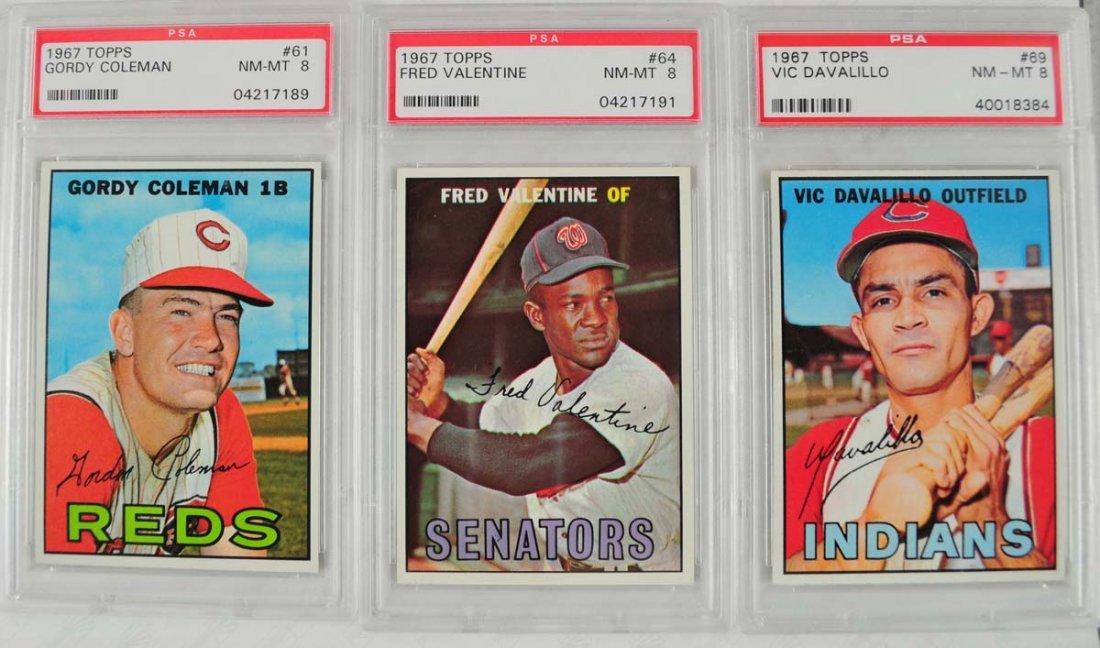 20 1967 Topps Baseball Cards PSA Graded 8