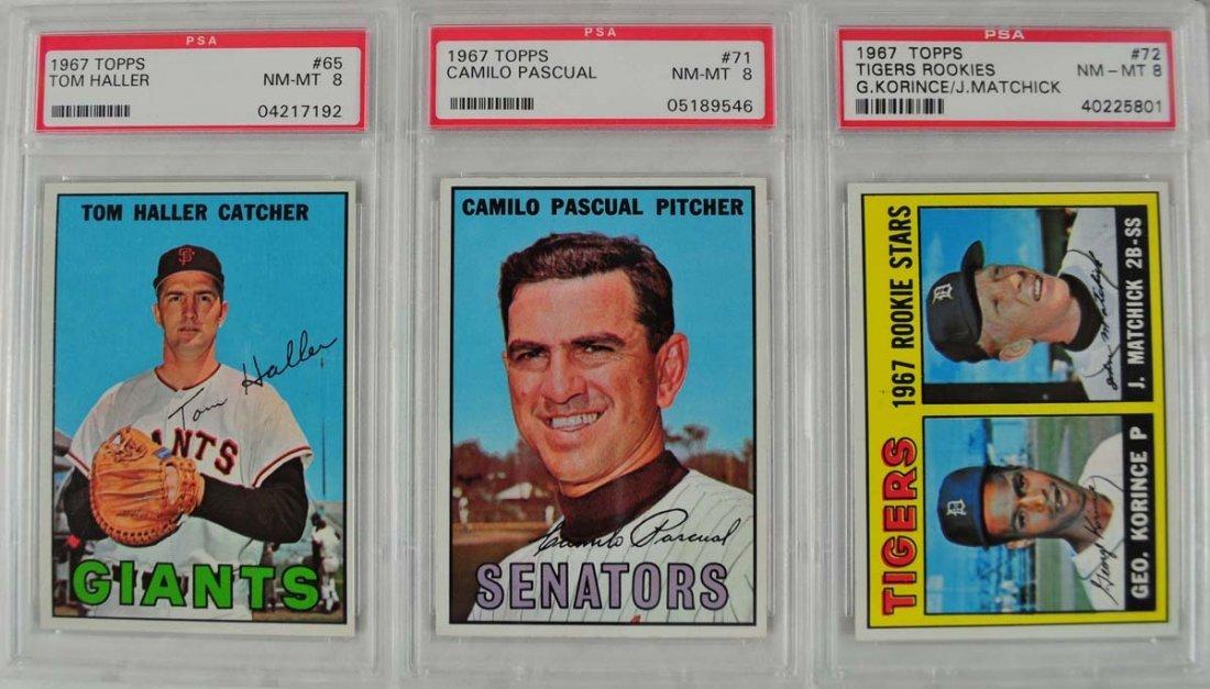 20 1967 Topps Baseball Cards PSA Graded 8 - 7