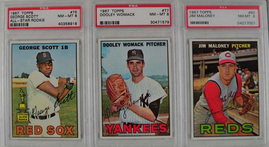 20 1967 Topps Baseball Cards PSA Graded 8 - 9
