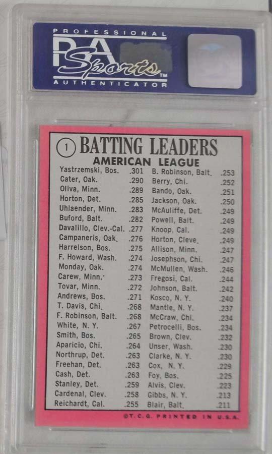 1969 Topps Baseball Card PSA Graded Mint 9 - 2
