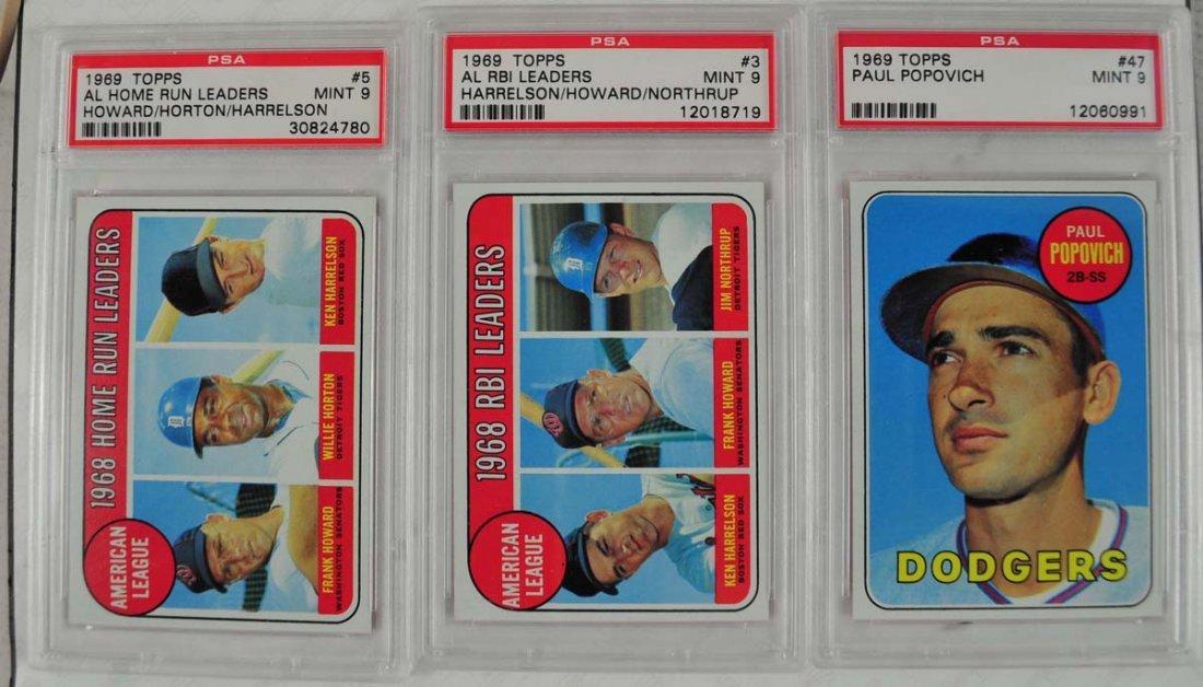 12 1969 Topps Baseball Cards PSA Graded Mint 9 - 7
