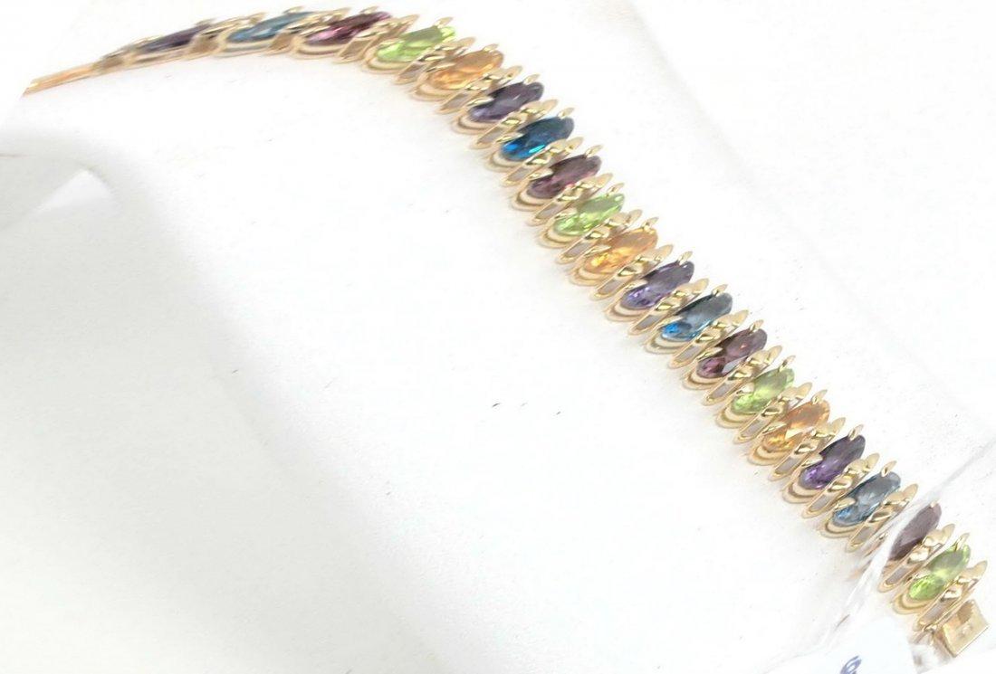 14Kt. Ladies Multi Stone Bracelet 10 Grams