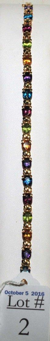 14Kt. Ladies Multi Stone Bracelet 10 Grams - 2