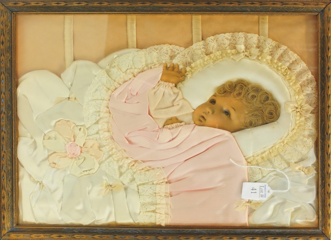 Antique Silk 3D Baby Picture in Frame