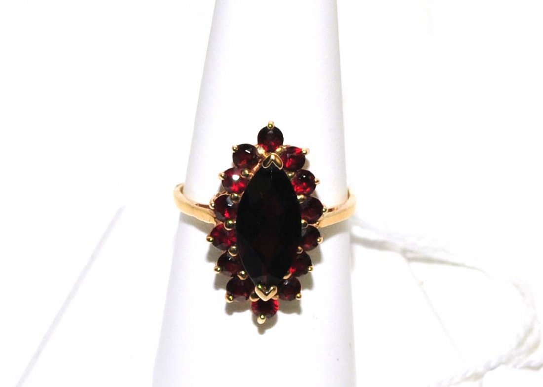 Ladies 10Kt. Garnet Ring 4 Grams