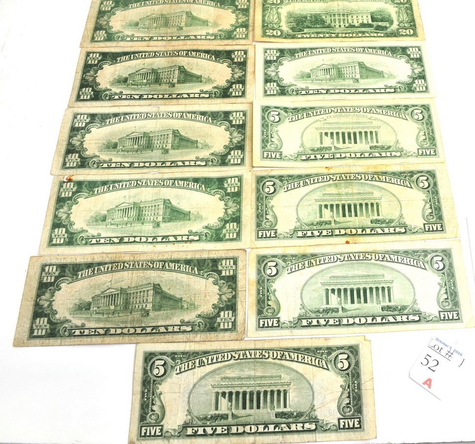 Paper Money Lot Small Size $100 Face 5's 10's and0 - 2
