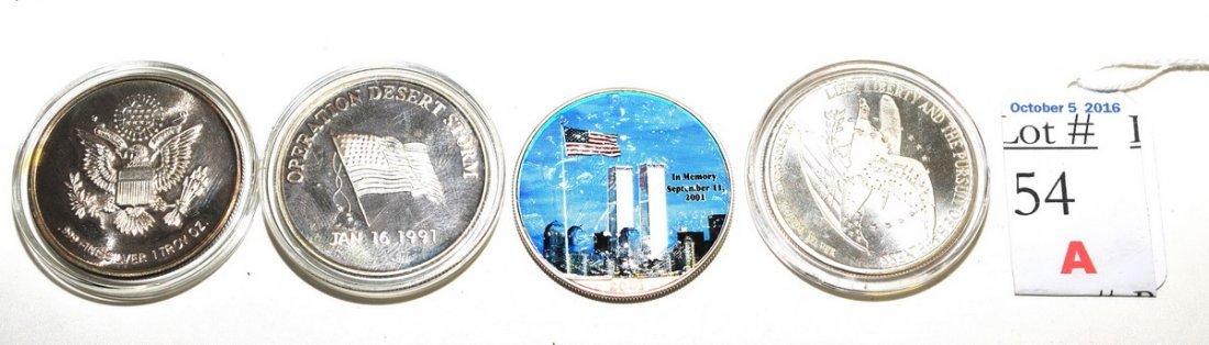 4-Silver 1 OZT Coins September 11th, Desert Storms