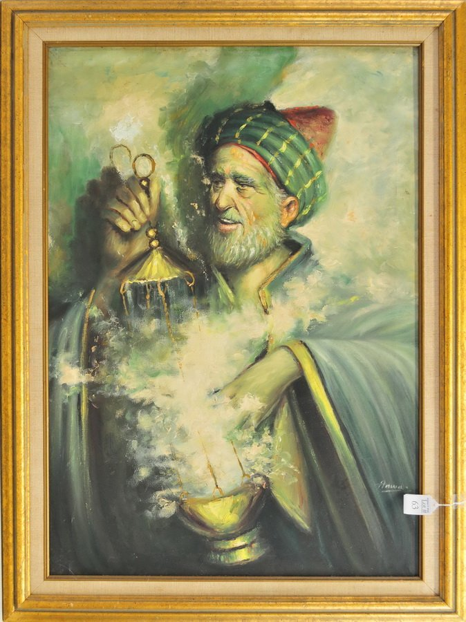 Oil on Canvas of  a Magician by Anwell