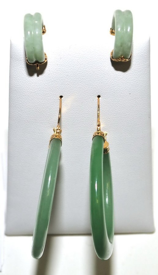 Two Pairs of Gold and Jade Earrings and Ring - 2