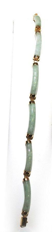 Ladies 14Kt. Jade Bracelet 10 Grams