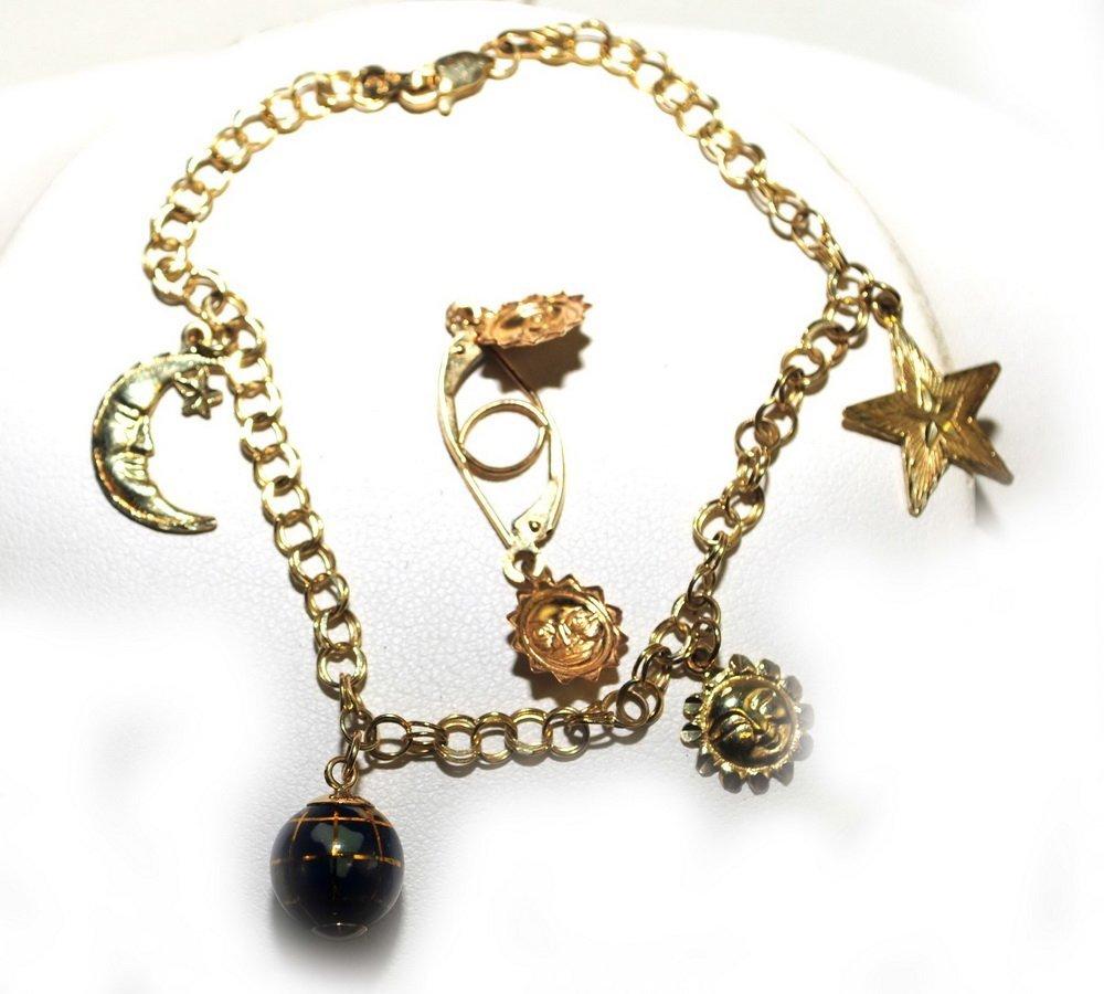 Ladies 14Kt. Charm Bracelet and Earrings 5 Grams
