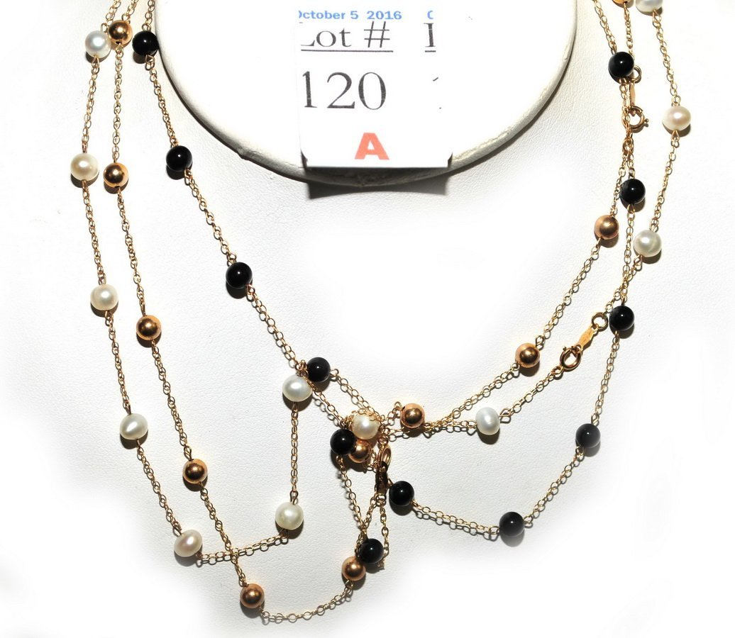 Three 10Kt. Gold  Chain and Bead Necklaces 6 Grams - 2