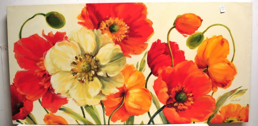 Oil On Canvas Floral By Lisa Audit