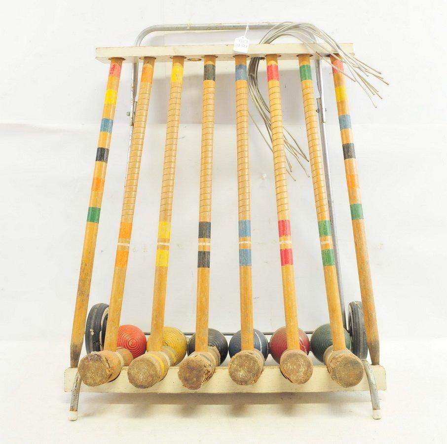 Vintage Wooden croquet set on cart