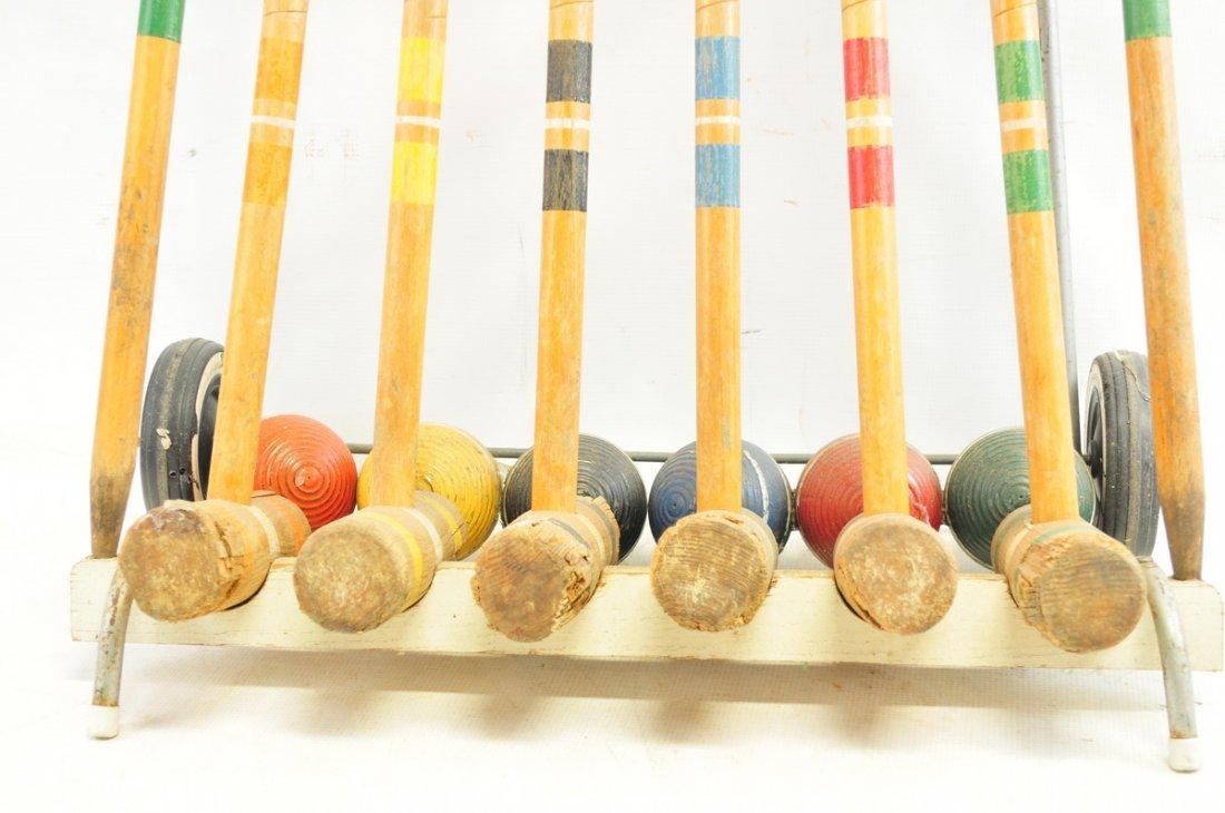 Vintage Wooden croquet set on cart - 2