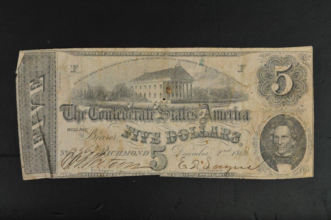 Confederate States $5 Bills
