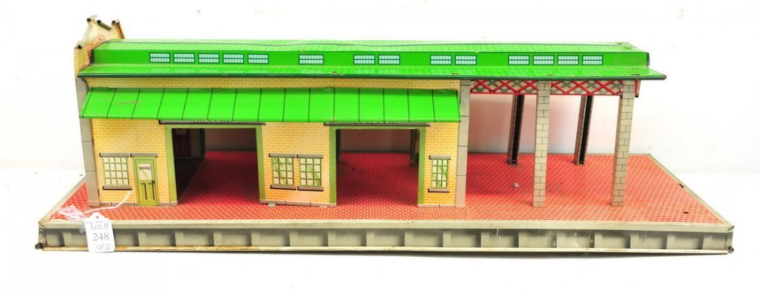Two Tin Litho Toy Garages - 2