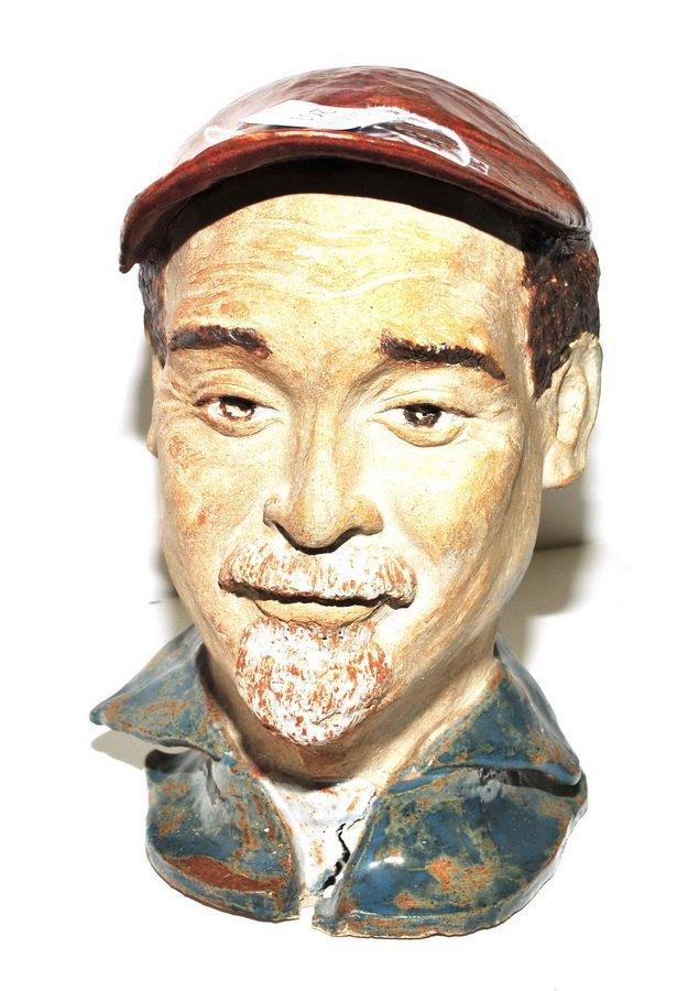 Makato Yabe Glazed Pottery Bust - 2