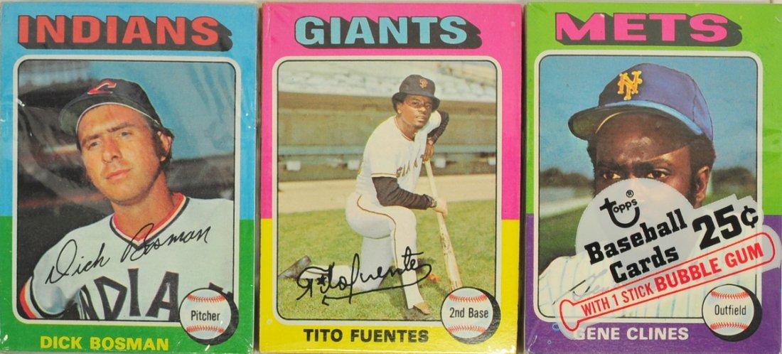 Three 1975 Topps Unopened Baseball Cello Packs