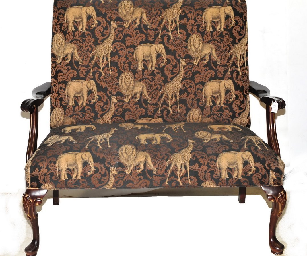 Animal Decorated Settee and Bar Stool