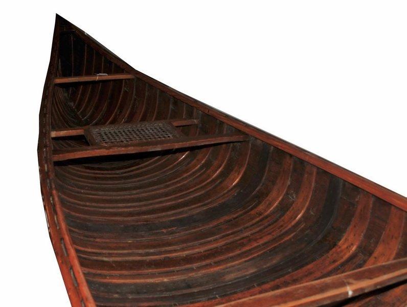 Vintage EM White Canoe 18' FT 19' Foot Long Maine - 6