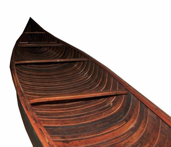Vintage EM White Canoe 18' FT 19' Foot Long Maine - 5