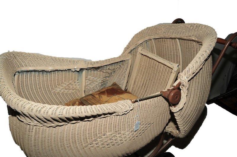 Antique Wicker Pram/Baby Stroller - 2