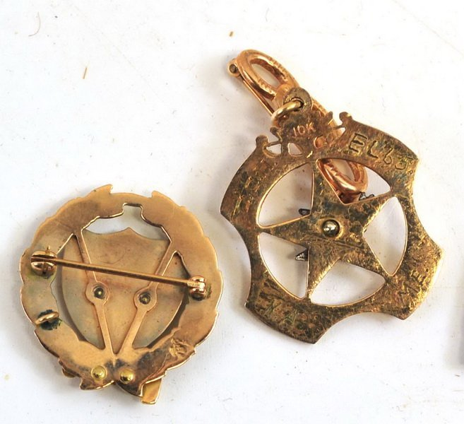 Two 10Kt. Gold Fraternal Pins/10Kt ring 12 Grams