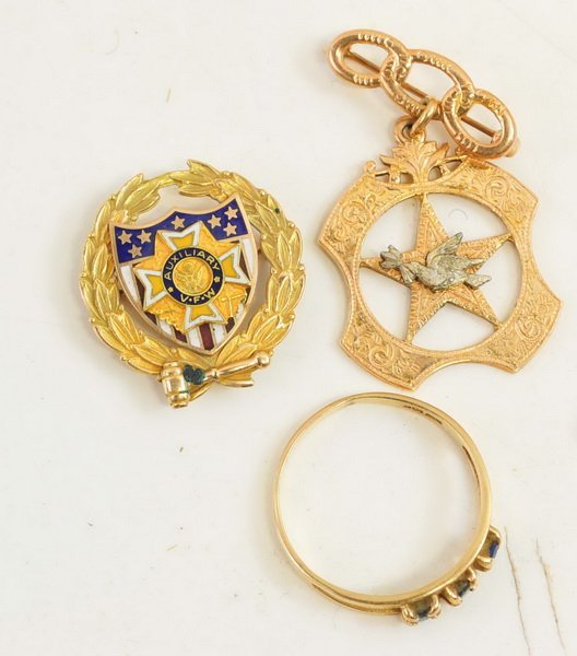 Two 10Kt. Gold Fraternal Pins/10Kt ring 12 Grams - 2