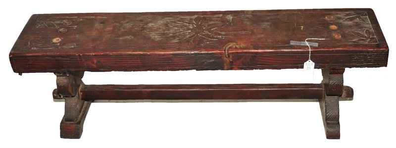 Antique Carved Primitive Bench