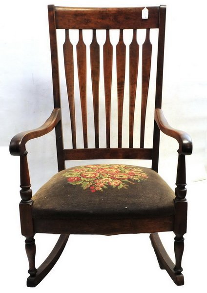 Antique Rocking Chair with needlepoint seat
