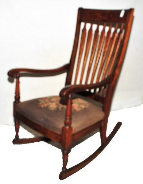 Antique Rocking Chair with needlepoint seat - 3